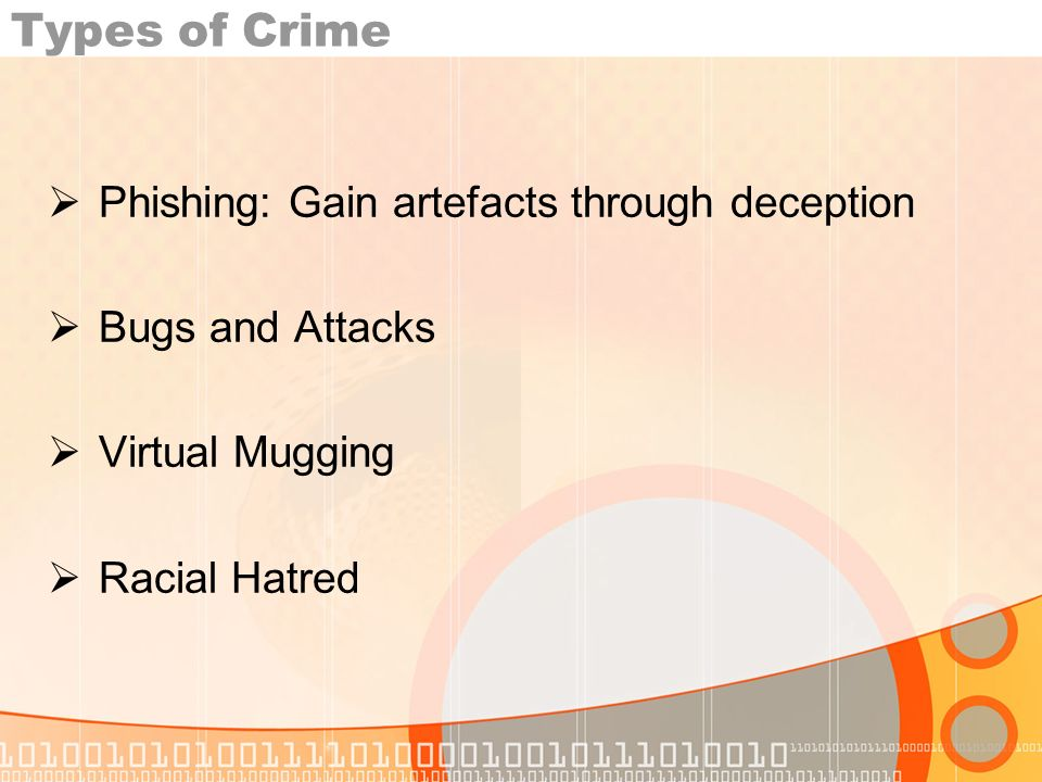 Types of Crime Phishing: Gain artefacts through deception Bugs and Attacks Virtual Mugging Racial Hatred