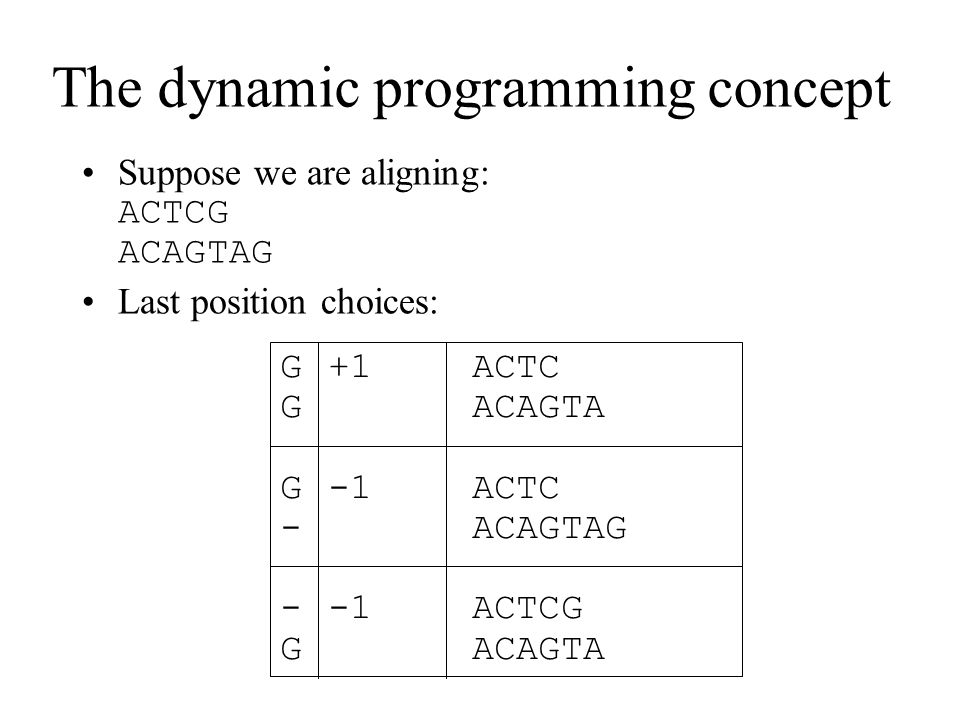 The dynamic programming concept Suppose we are aligning: ACTCG ACAGTAG Last position choices: G+1ACTC GACAGTA G-1ACTC -ACAGTAG --1ACTCG GACAGTA