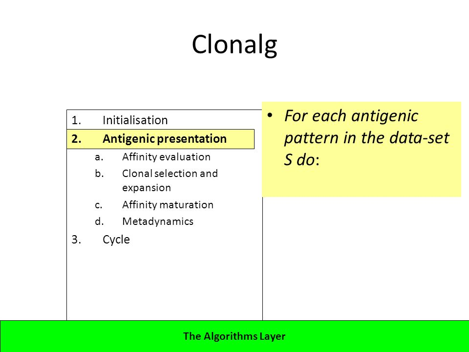 Lecture 4CBA - Artificial Immune Systems 1.Initialisation 2.Antigenic presentation a.Affinity evaluation b.Clonal selection and expansion c.Affinity maturation d.Metadynamics 3.Cycle Clonalg For each antigenic pattern in the data-set S do: The Algorithms Layer