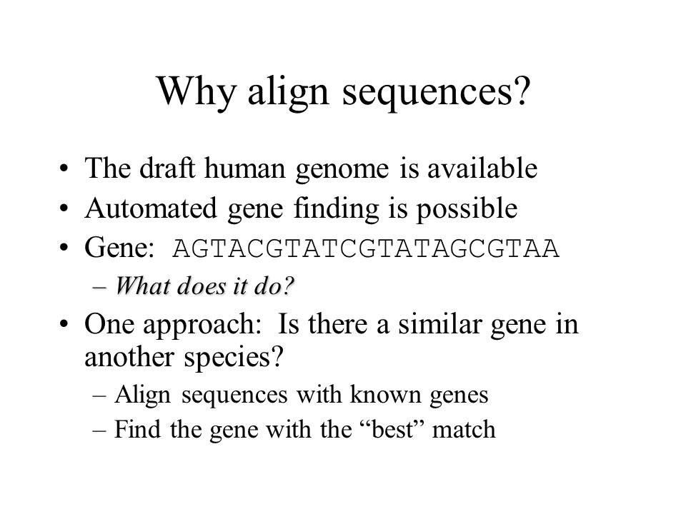 Why align sequences.