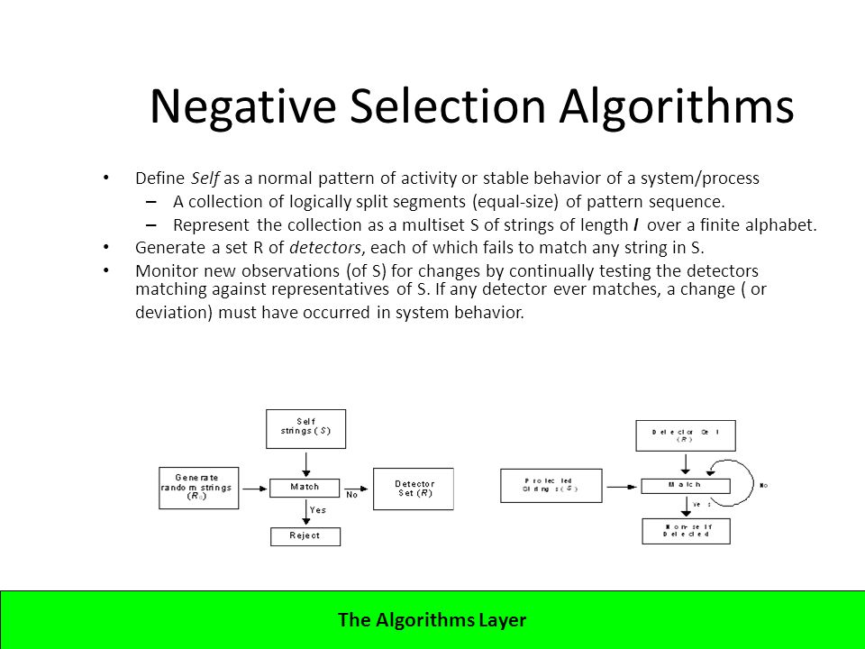 Lecture 5CBA - Artificial Immune Systems Negative Selection Algorithms Define Self as a normal pattern of activity or stable behavior of a system/process – A collection of logically split segments (equal-size) of pattern sequence.