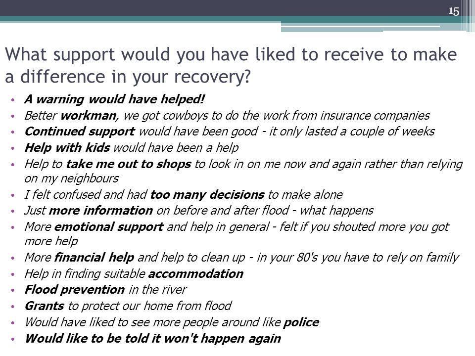 What support would you have liked to receive to make a difference in your recovery.