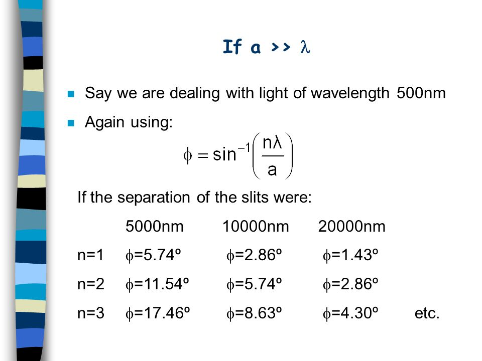 If a >> n Say we are dealing with light of wavelength 500nm n Again using: If the separation of the slits were: 5000nm 10000nm20000nm n=1 =5.74º =2.86º =1.43º n=2 =11.54º =5.74º =2.86º n=3 =17.46º =8.63º =4.30ºetc.