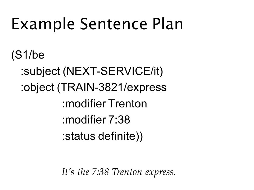 Example Sentence Plan (S1/be :subject (NEXT-SERVICE/it) :object (TRAIN-3821/express :modifier Trenton :modifier 7:38 :status definite)) Its the 7:38 Trenton express.