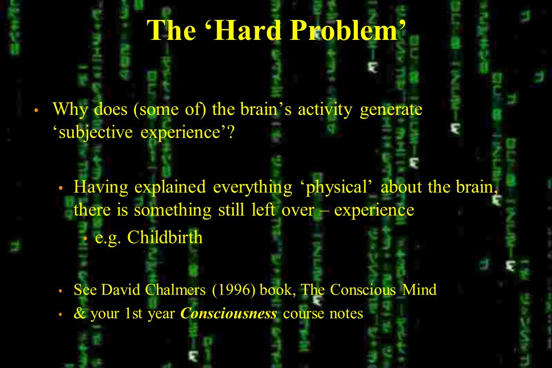The Hard Problem Why does (some of) the brains activity generate subjective experience.