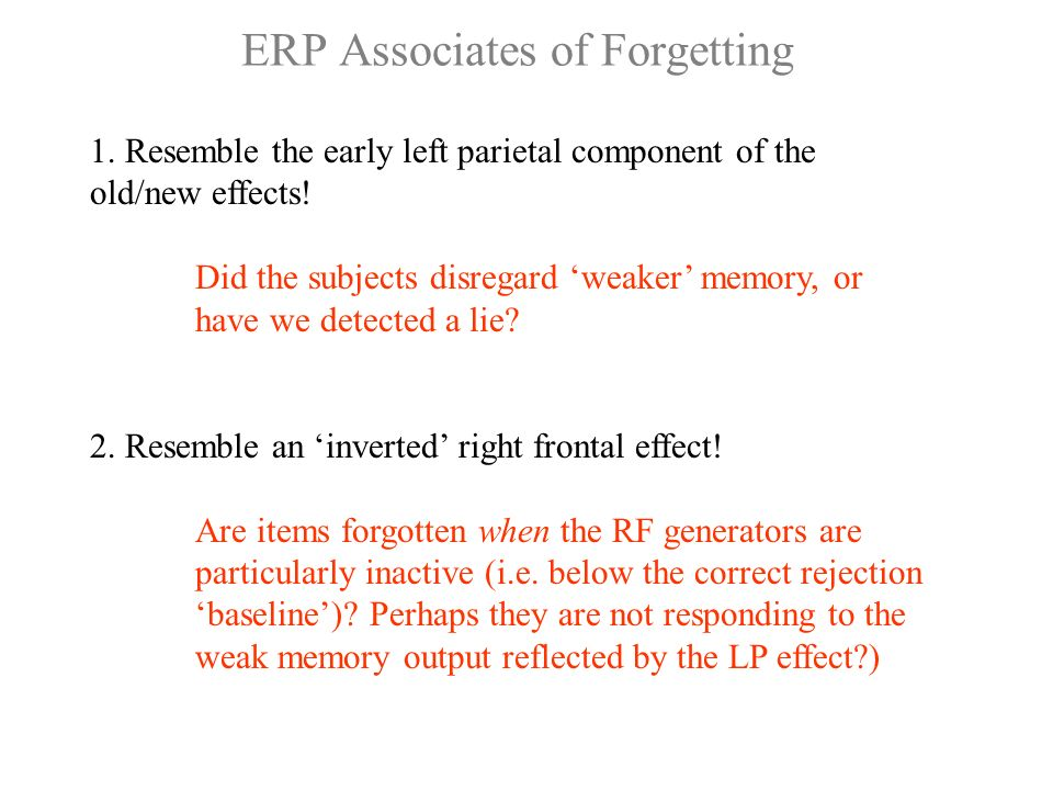 ERP Associates of Forgetting 1. Resemble the early left parietal component of the old/new effects.