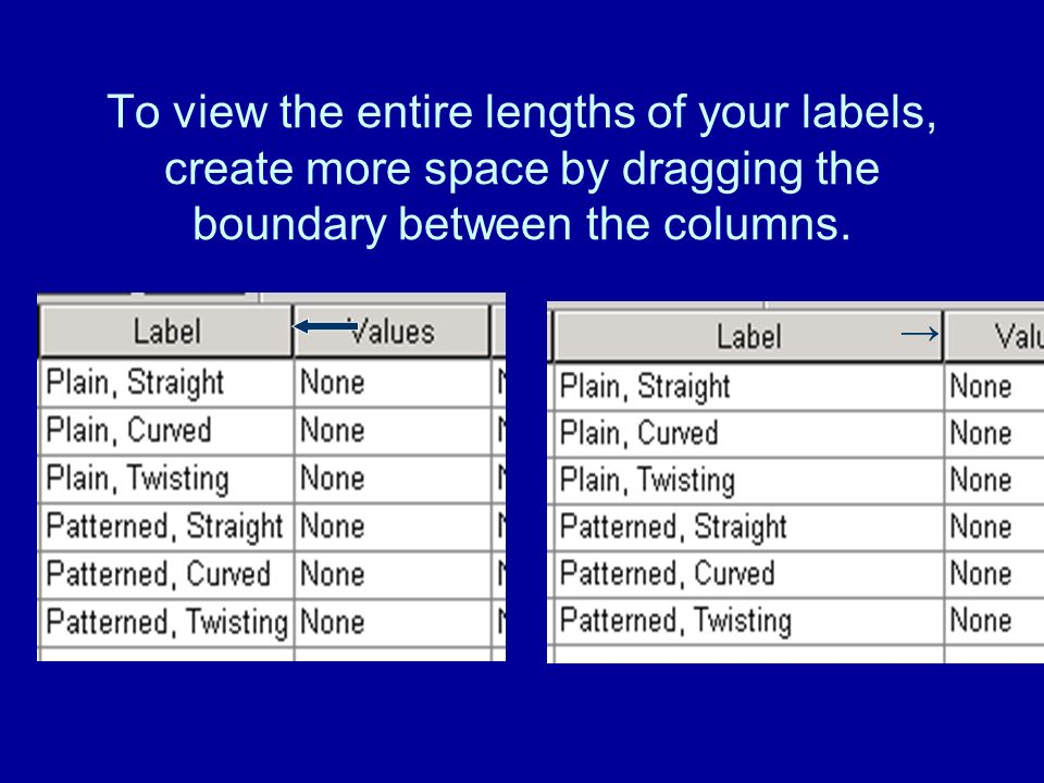 To view the entire lengths of your labels, create more space by dragging the boundary between the columns.