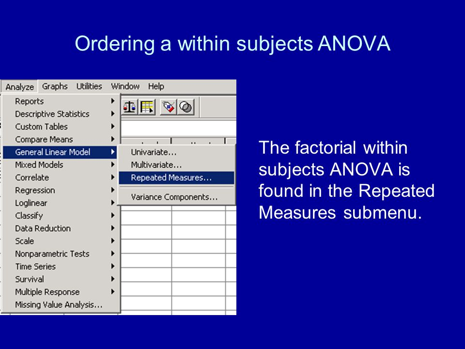 Ordering a within subjects ANOVA The factorial within subjects ANOVA is found in the Repeated Measures submenu.