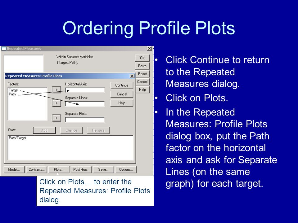 Ordering Profile Plots Click Continue to return to the Repeated Measures dialog.