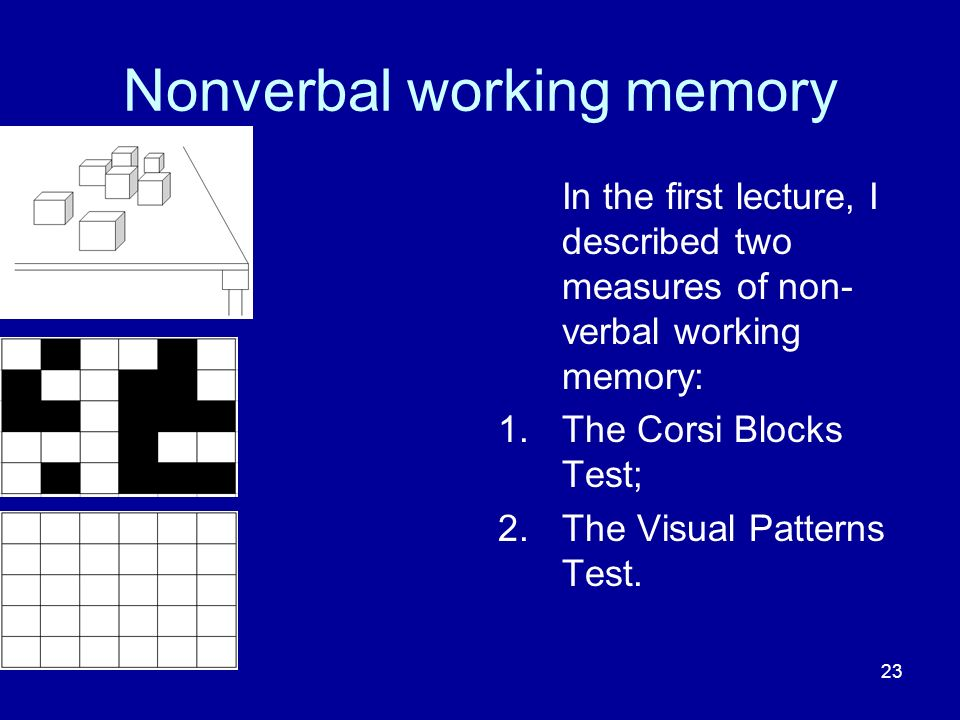 23 Nonverbal working memory In the first lecture, I described two measures of non- verbal working memory: 1.The Corsi Blocks Test; 2.The Visual Patterns Test.