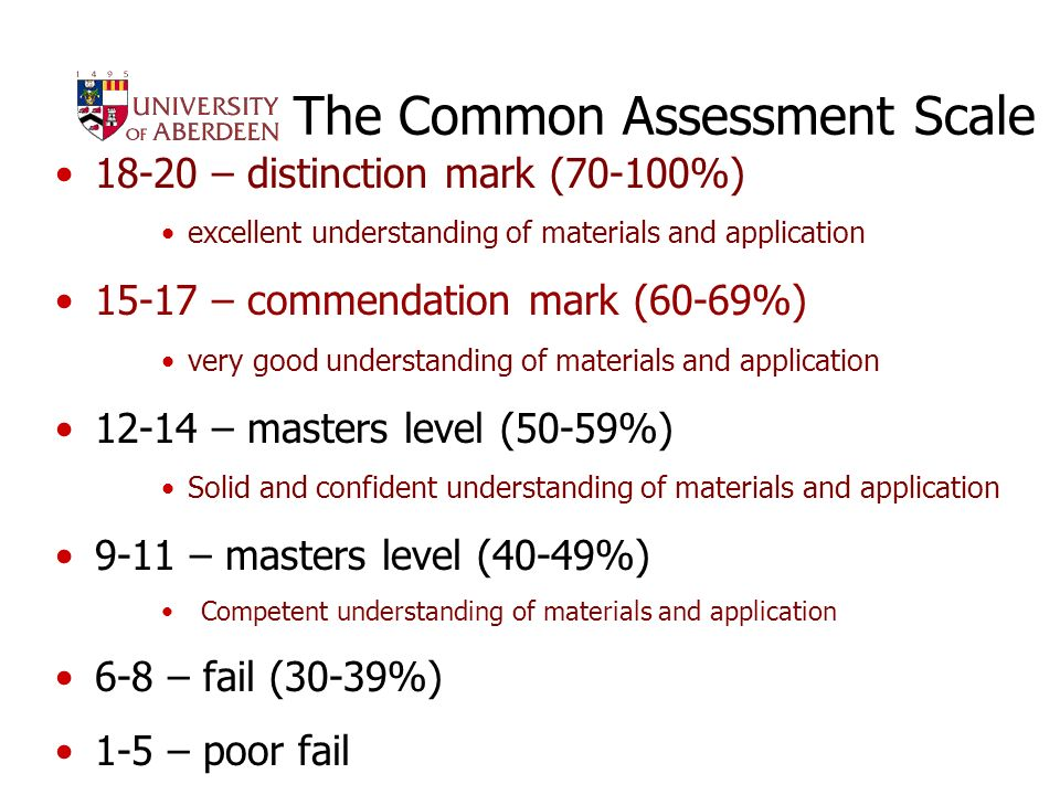 Introduction to MSc Programmes 201114 The Common Assessment Scale 18-20 – distinction mark (70-100%) excellent understanding of materials and application 15-17 – commendation mark (60-69%) very good understanding of materials and application 12-14 – masters level (50-59%) Solid and confident understanding of materials and application 9-11 – masters level (40-49%) Competent understanding of materials and application 6-8 – fail (30-39%) 1-5 – poor fail
