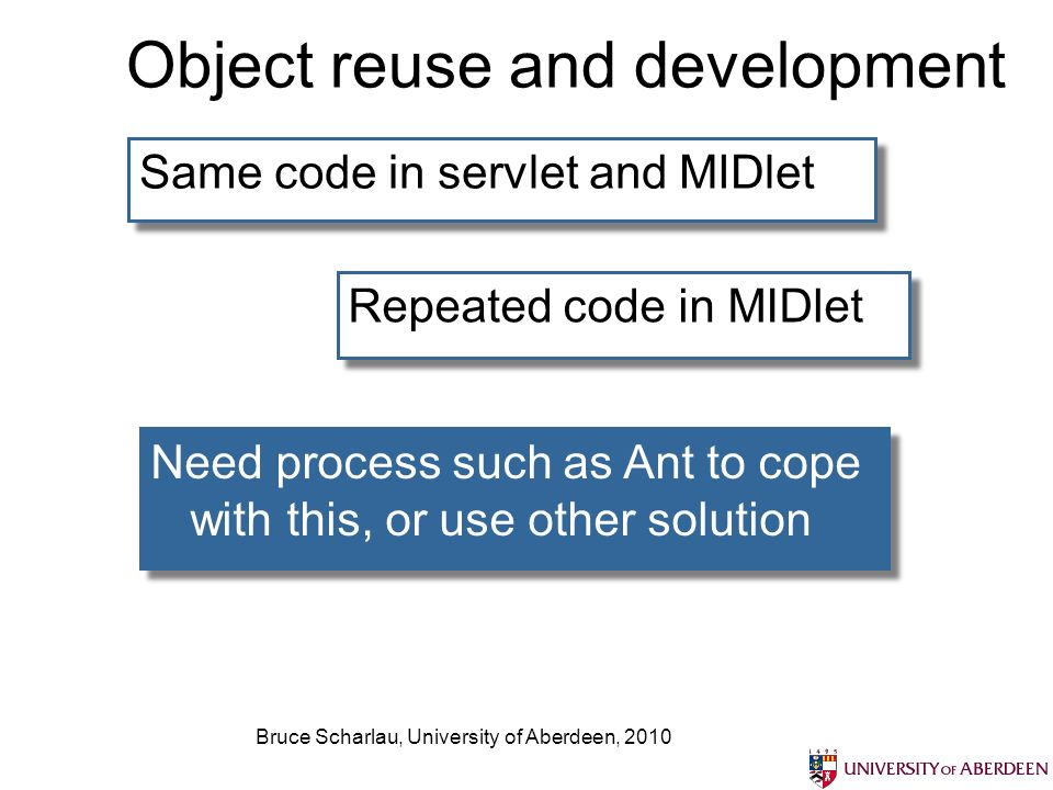 Bruce Scharlau, University of Aberdeen, 2010 Object reuse and development Same code in servlet and MIDlet Repeated code in MIDlet Need process such as Ant to cope with this, or use other solution