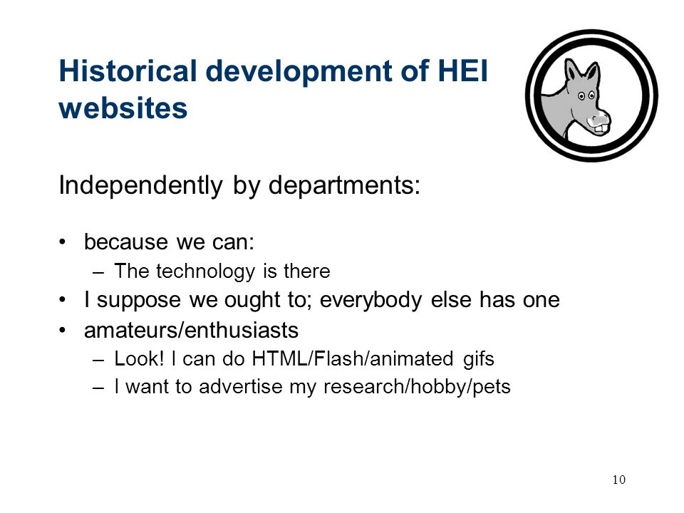 10 Historical development of HEI websites Independently by departments: because we can: –The technology is there I suppose we ought to; everybody else has one amateurs/enthusiasts –Look.