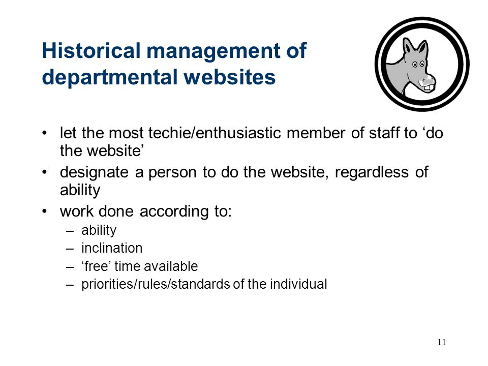 11 Historical management of departmental websites let the most techie/enthusiastic member of staff to do the website designate a person to do the website, regardless of ability work done according to: –ability –inclination –free time available –priorities/rules/standards of the individual