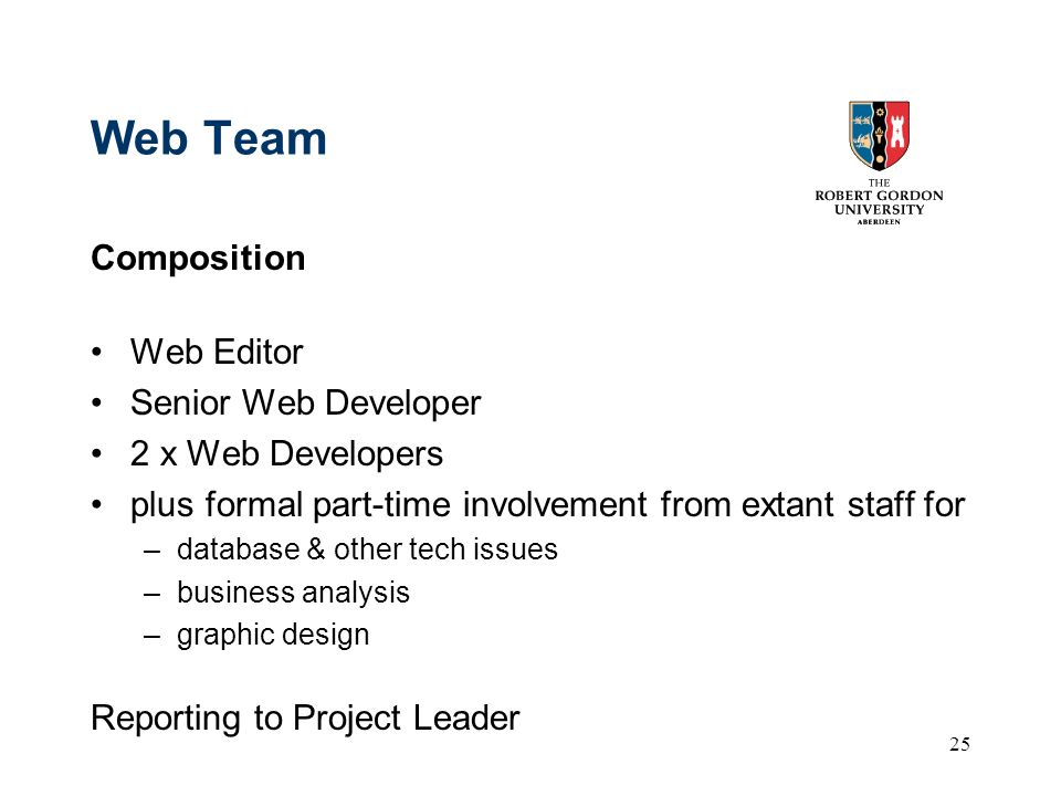 25 Web Team Composition Web Editor Senior Web Developer 2 x Web Developers plus formal part-time involvement from extant staff for –database & other tech issues –business analysis –graphic design Reporting to Project Leader
