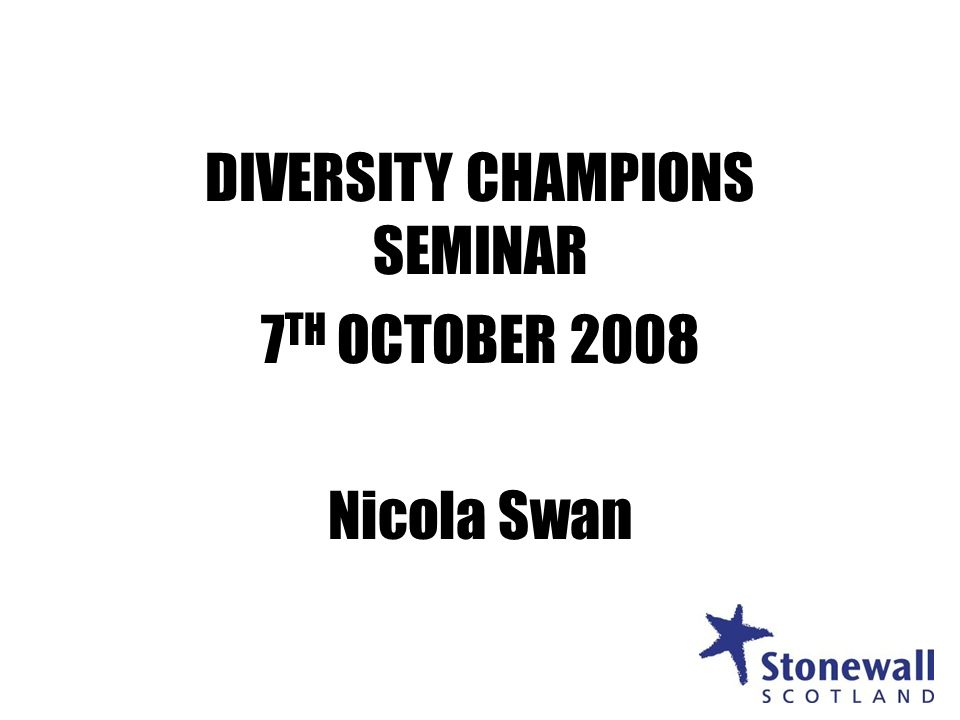 1 DIVERSITY CHAMPIONS SEMINAR 7 TH OCTOBER 2008 Nicola Swan 1
