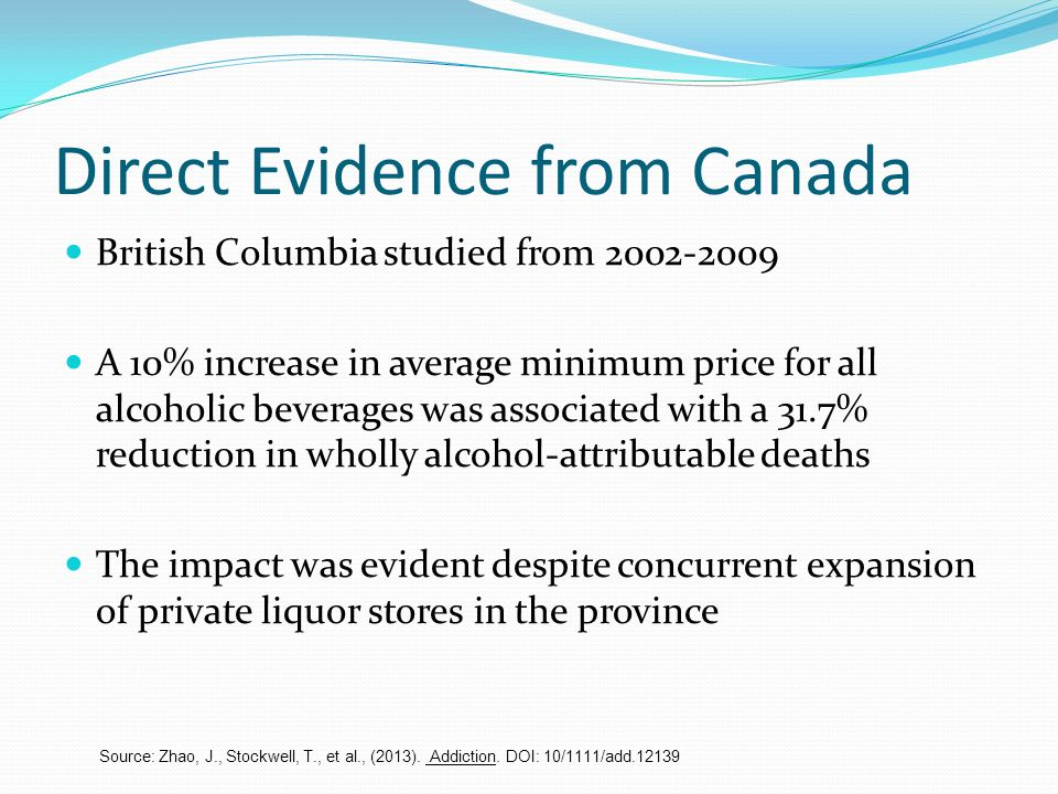 Direct Evidence from Canada British Columbia studied from 2002-2009 A 10% increase in average minimum price for all alcoholic beverages was associated with a 31.7% reduction in wholly alcohol-attributable deaths The impact was evident despite concurrent expansion of private liquor stores in the province Source: Zhao, J., Stockwell, T., et al., (2013).