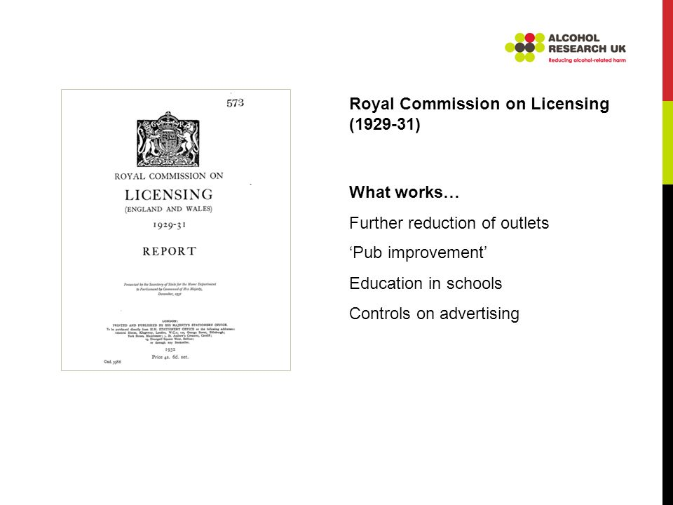 Royal Commission on Licensing (1929-31) What works… Further reduction of outlets Pub improvement Education in schools Controls on advertising