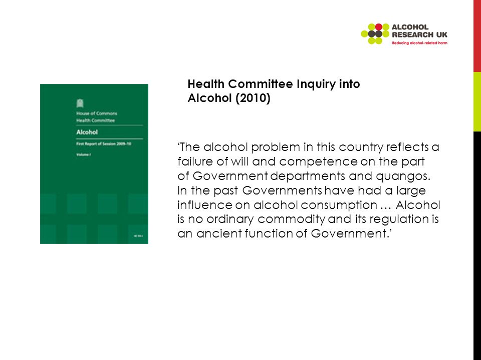 The alcohol problem in this country reflects a failure of will and competence on the part of Government departments and quangos.