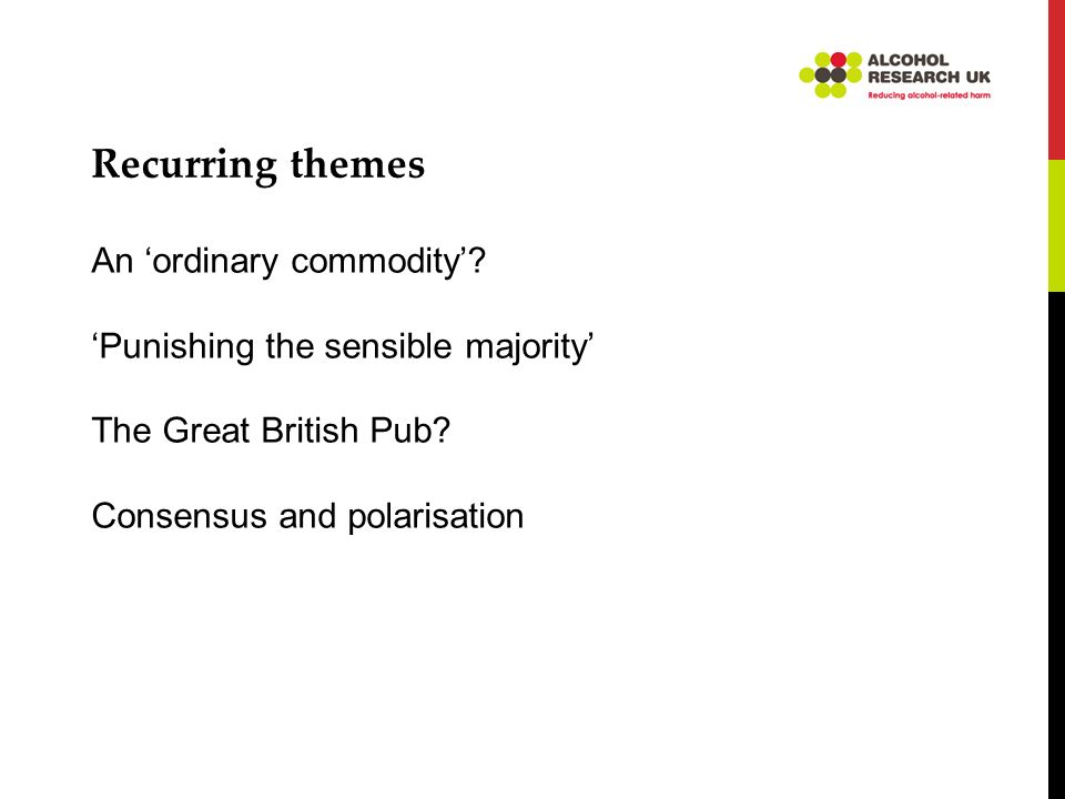 Recurring themes An ordinary commodity. Punishing the sensible majority The Great British Pub.