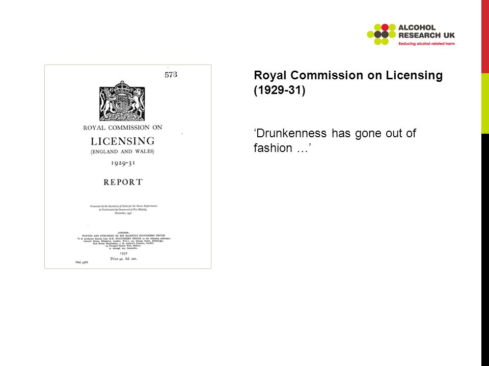 Royal Commission on Licensing (1929-31) Drunkenness has gone out of fashion …