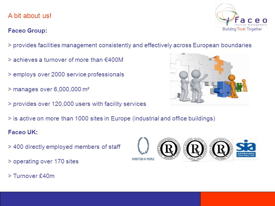 Faceo Group: > provides facilities management consistently and effectively across European boundaries > achieves a turnover of more than 400M > employs over 2000 service professionals > manages over 6,000,000 m² > provides over 120,000 users with facility services > is active on more than 1000 sites in Europe (industrial and office buildings) Faceo UK: > 400 directly employed members of staff > operating over 170 sites > Turnover £40m A bit about us.