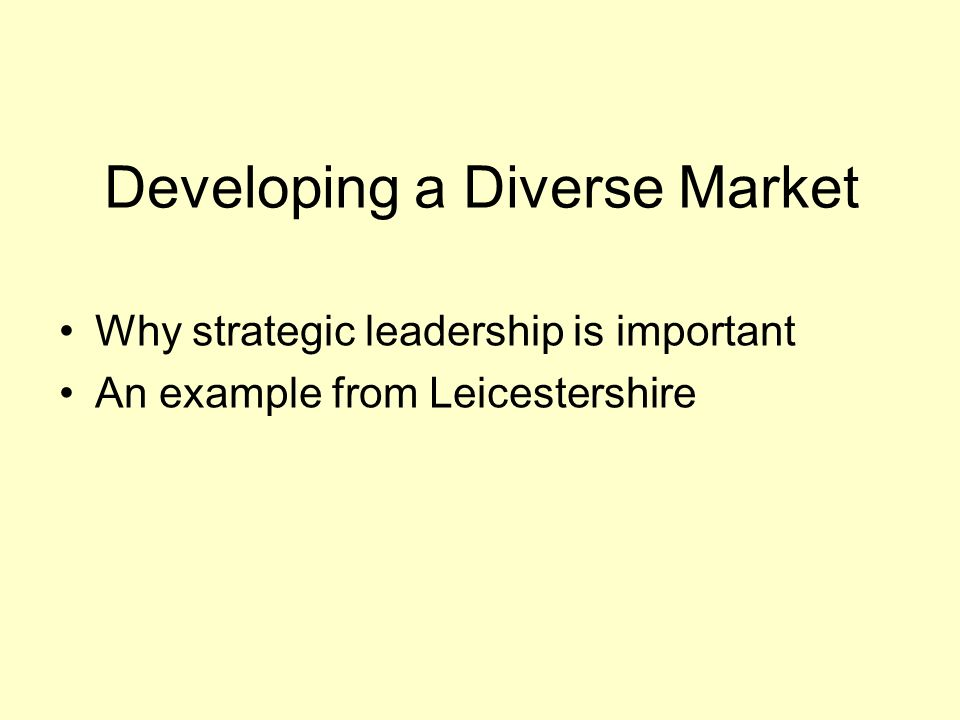 Developing a Diverse Market Why strategic leadership is important An example from Leicestershire