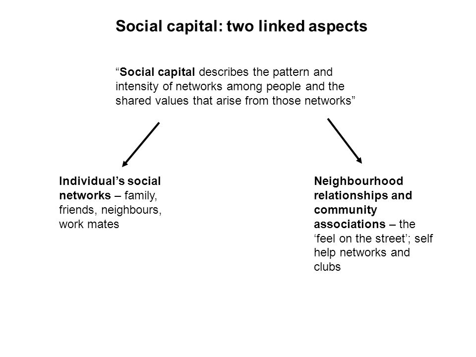 Social capital: two linked aspects Social capital describes the pattern and intensity of networks among people and the shared values that arise from those networks Individuals social networks – family, friends, neighbours, work mates Neighbourhood relationships and community associations – the feel on the street; self help networks and clubs