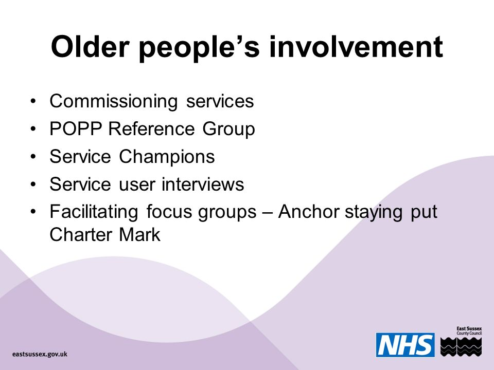 Older peoples involvement Commissioning services POPP Reference Group Service Champions Service user interviews Facilitating focus groups – Anchor staying put Charter Mark