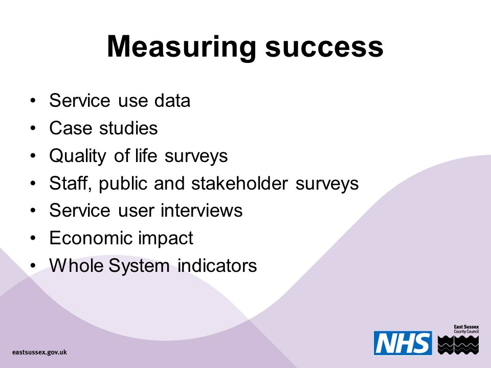 Measuring success Service use data Case studies Quality of life surveys Staff, public and stakeholder surveys Service user interviews Economic impact Whole System indicators