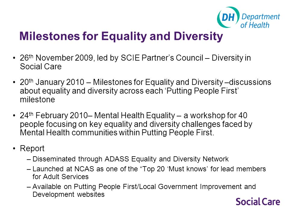 Milestones for Equality and Diversity 26 th November 2009, led by SCIE Partners Council – Diversity in Social Care 20 th January 2010 – Milestones for Equality and Diversity –discussions about equality and diversity across each Putting People First milestone 24 th February 2010– Mental Health Equality – a workshop for 40 people focusing on key equality and diversity challenges faced by Mental Health communities within Putting People First.
