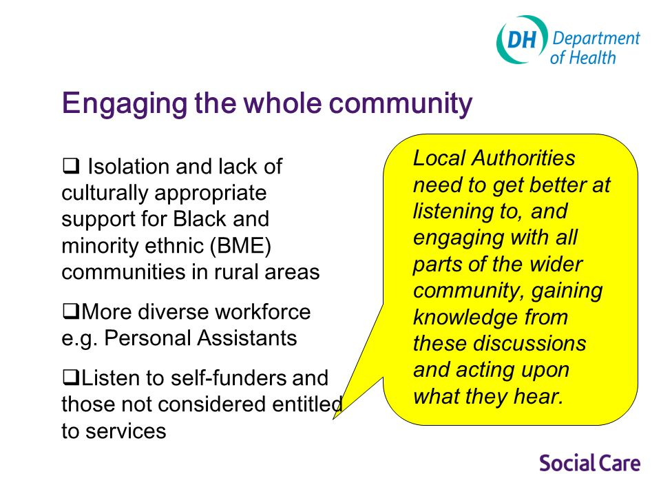Isolation and lack of culturally appropriate support for Black and minority ethnic (BME) communities in rural areas More diverse workforce e.g.