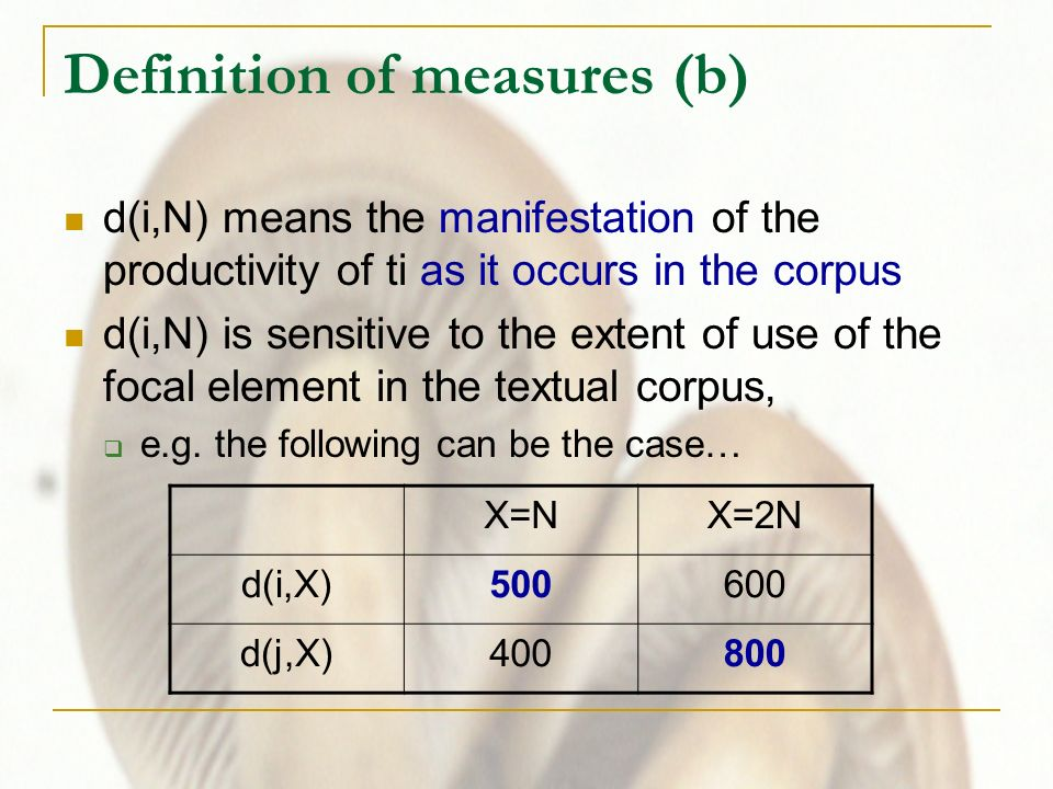 Definition of measures (b) d(i,N) means the manifestation of the productivity of ti as it occurs in the corpus d(i,N) is sensitive to the extent of use of the focal element in the textual corpus, e.g.