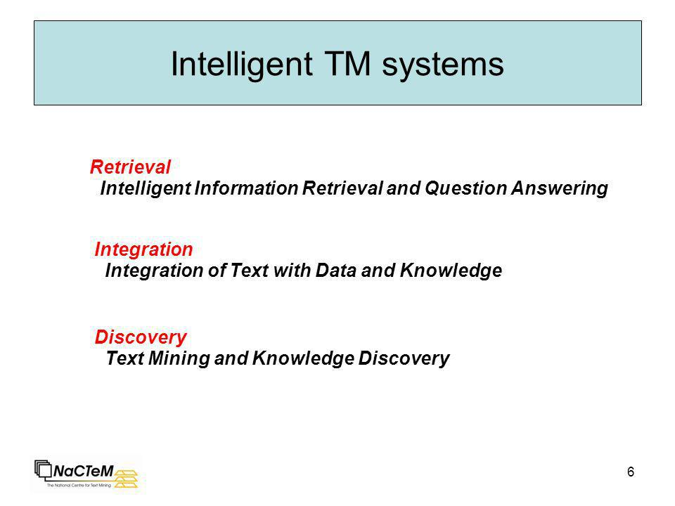 6 Intelligent TM systems Intelligent Information Retrieval and Question Answering Retrieval Integration of Text with Data and Knowledge Integration Text Mining and Knowledge Discovery Discovery
