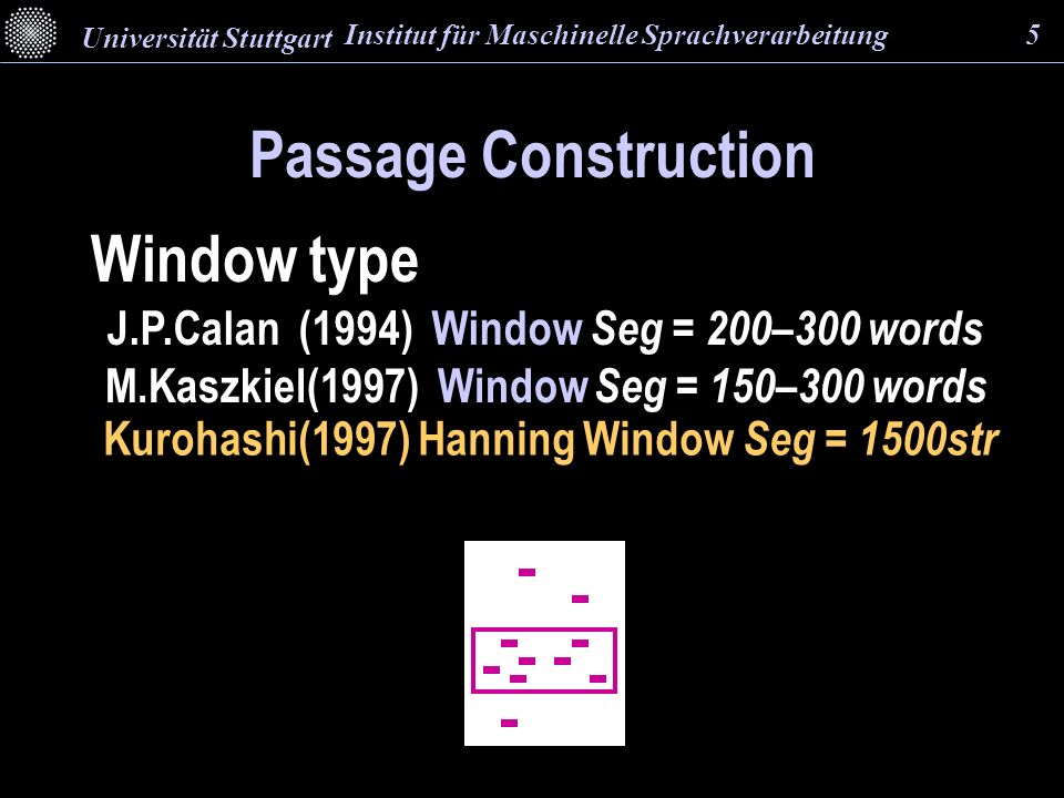 Window type Passage Construction Kurohashi(1997) Hanning Window Seg = 1500str M.Kaszkiel(1997) Window Seg = 150–300 words J.P.Calan (1994) Window Seg = 200–300 words Institut für Maschinelle Sprachverarbeitung 5 Universität Stuttgart
