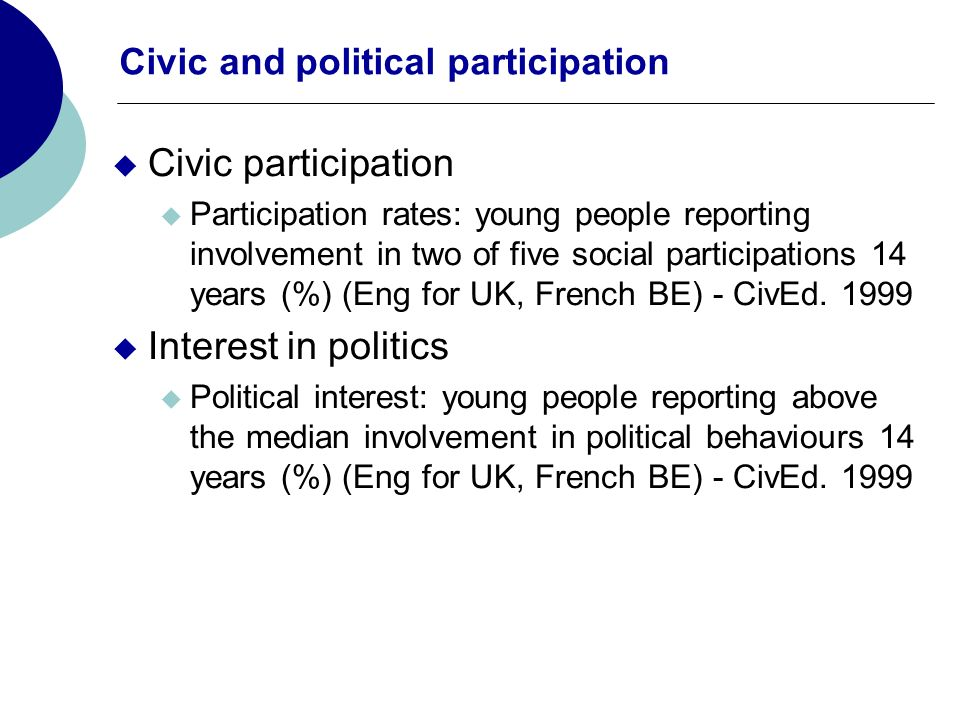 Civic and political participation Civic participation Participation rates: young people reporting involvement in two of five social participations 14 years (%) (Eng for UK, French BE) - CivEd.