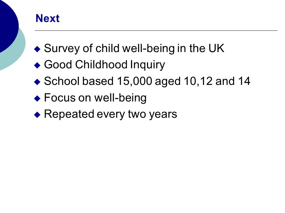 Next Survey of child well-being in the UK Good Childhood Inquiry School based 15,000 aged 10,12 and 14 Focus on well-being Repeated every two years