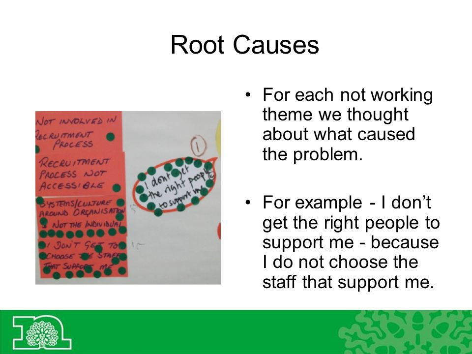 Root Causes For each not working theme we thought about what caused the problem.