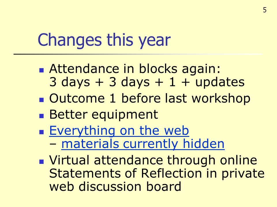 5 Changes this year Attendance in blocks again: 3 days + 3 days + 1 + updates Outcome 1 before last workshop Better equipment Everything on the web – materials currently hidden Everything on the webmaterials currently hidden Virtual attendance through online Statements of Reflection in private web discussion board
