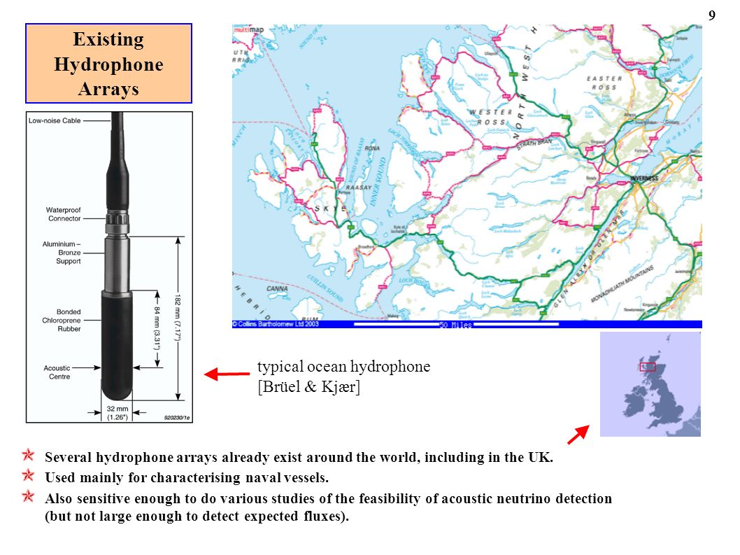 Existing Hydrophone Arrays typical ocean hydrophone [Brüel & Kjær] Several hydrophone arrays already exist around the world, including in the UK.