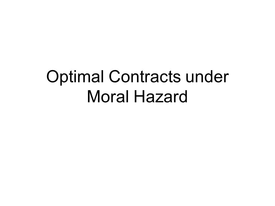 Optimal Contracts under Moral Hazard
