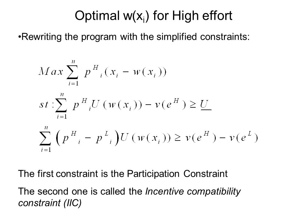 Rewriting the program with the simplified constraints: The first constraint is the Participation Constraint The second one is called the Incentive compatibility constraint (IIC) Optimal w(x i ) for High effort