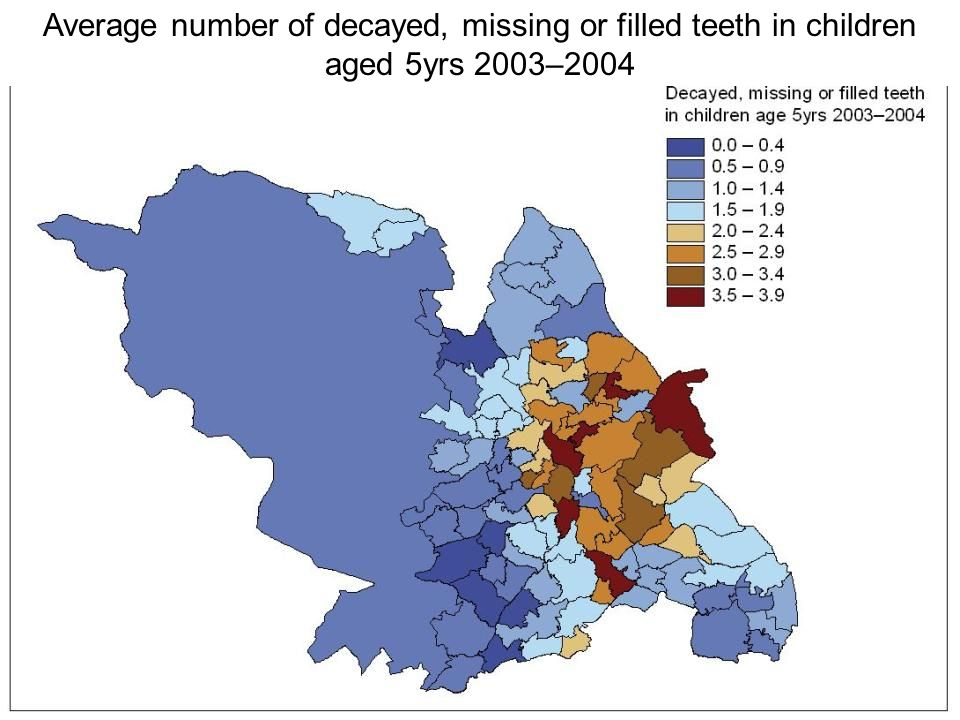 Average number of decayed, missing or filled teeth in children aged 5yrs 2003–2004