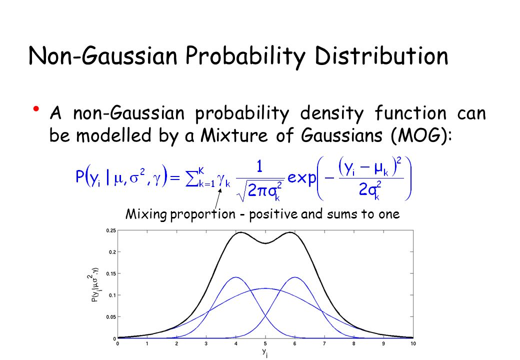 Non-Gaussian Probability Distribution A non-Gaussian probability density function can be modelled by a Mixture of Gaussians (MOG): Mixing proportion - positive and sums to one