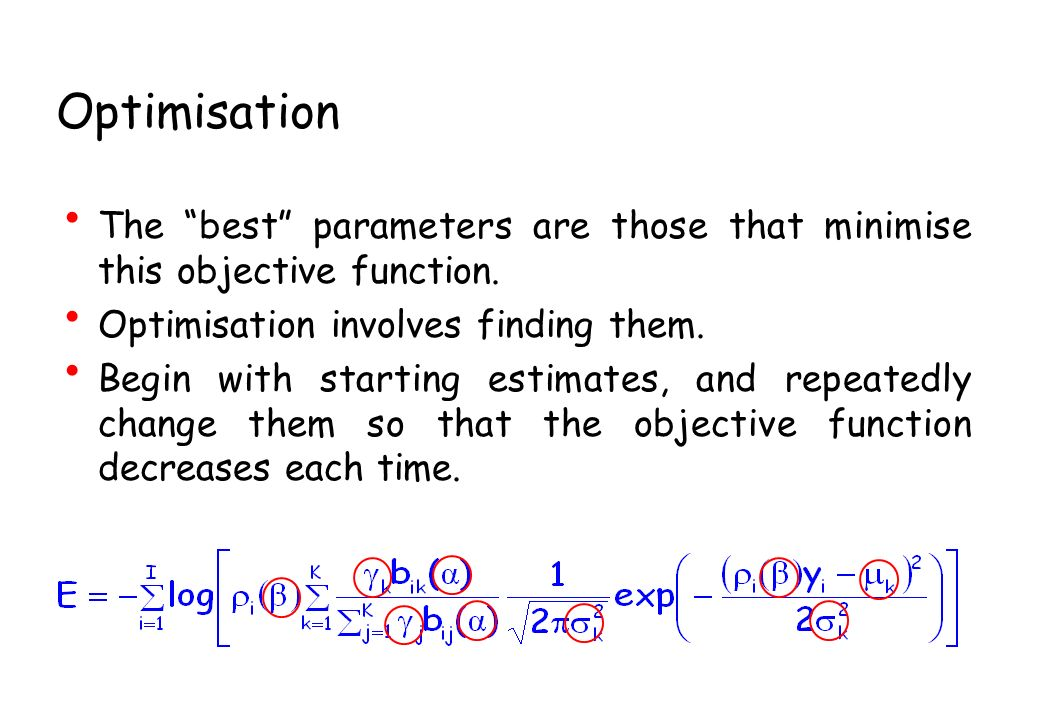 Optimisation The best parameters are those that minimise this objective function.