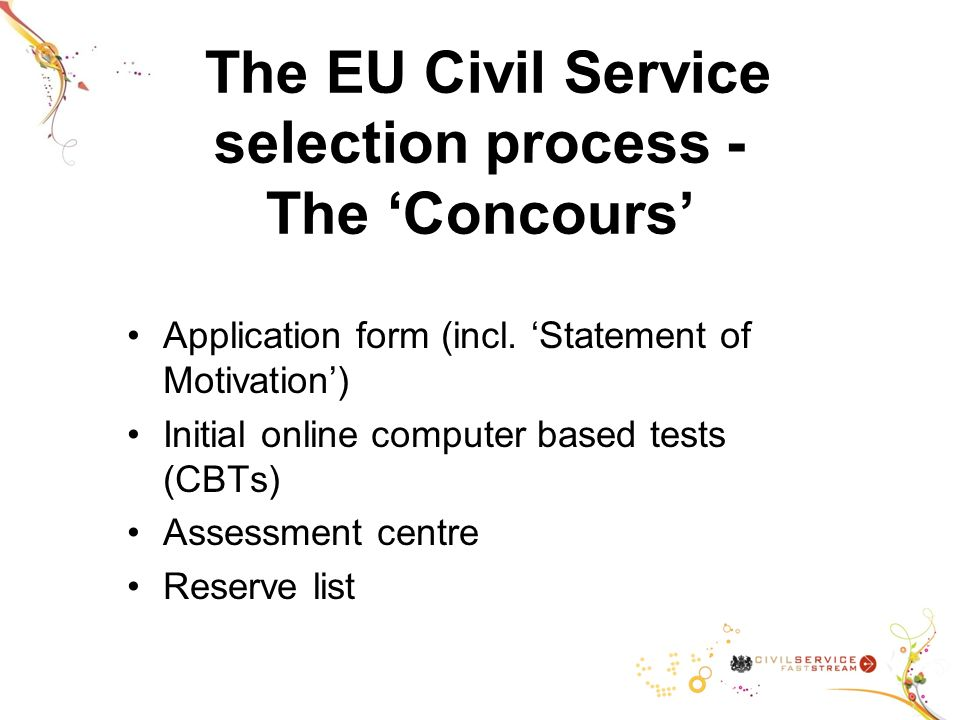 The EU Civil Service selection process - The Concours Application form (incl.
