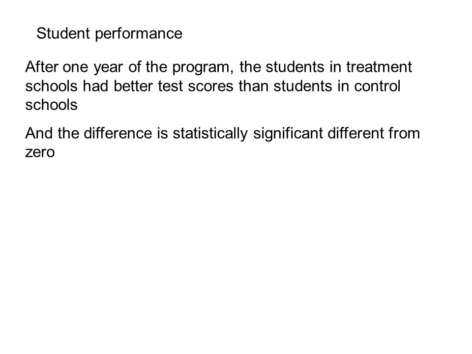 Student performance After one year of the program, the students in treatment schools had better test scores than students in control schools And the difference is statistically significant different from zero