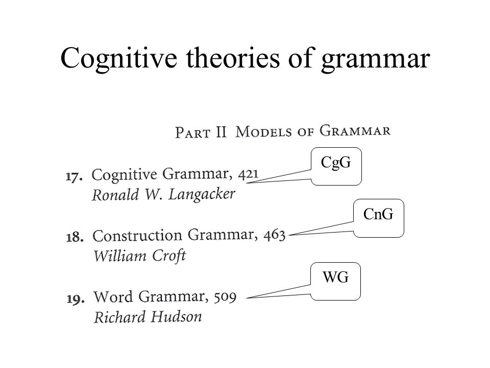 3 Cognitive theories of grammar CgG CnG WG