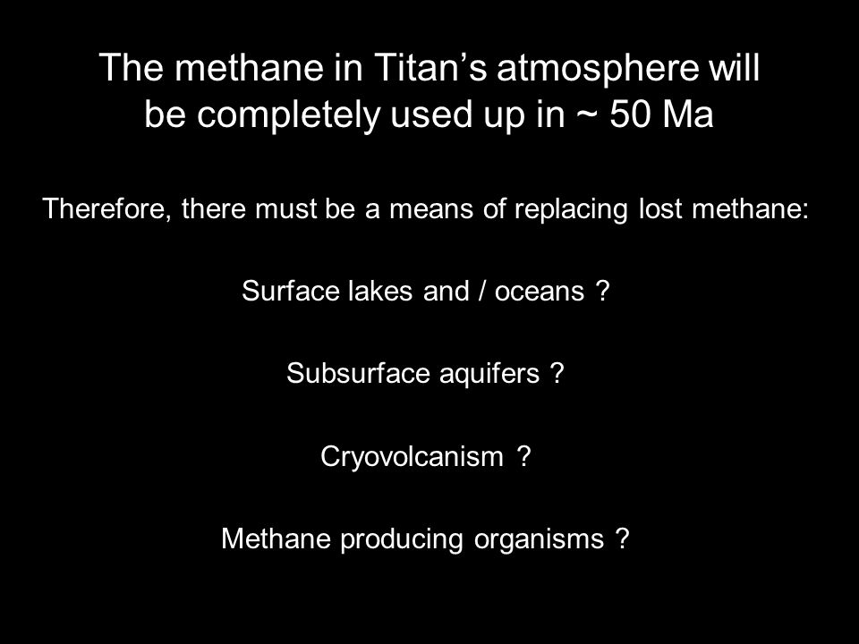 The fate of methane in Titans atmosphere Methane is broken down by various forms of EM and particle radiation.
