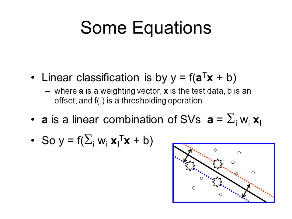 Some Equations Linear classification is by y = f(a T x + b) –where a is a weighting vector, x is the test data, b is an offset, and f(.) is a thresholding operation a is a linear combination of SVs a = i w i x i So y = f( i w i x i T x + b)